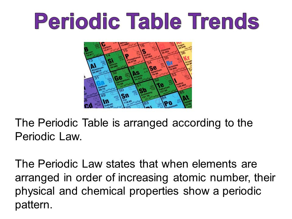 Periodic Law Example The Periodic Law states that