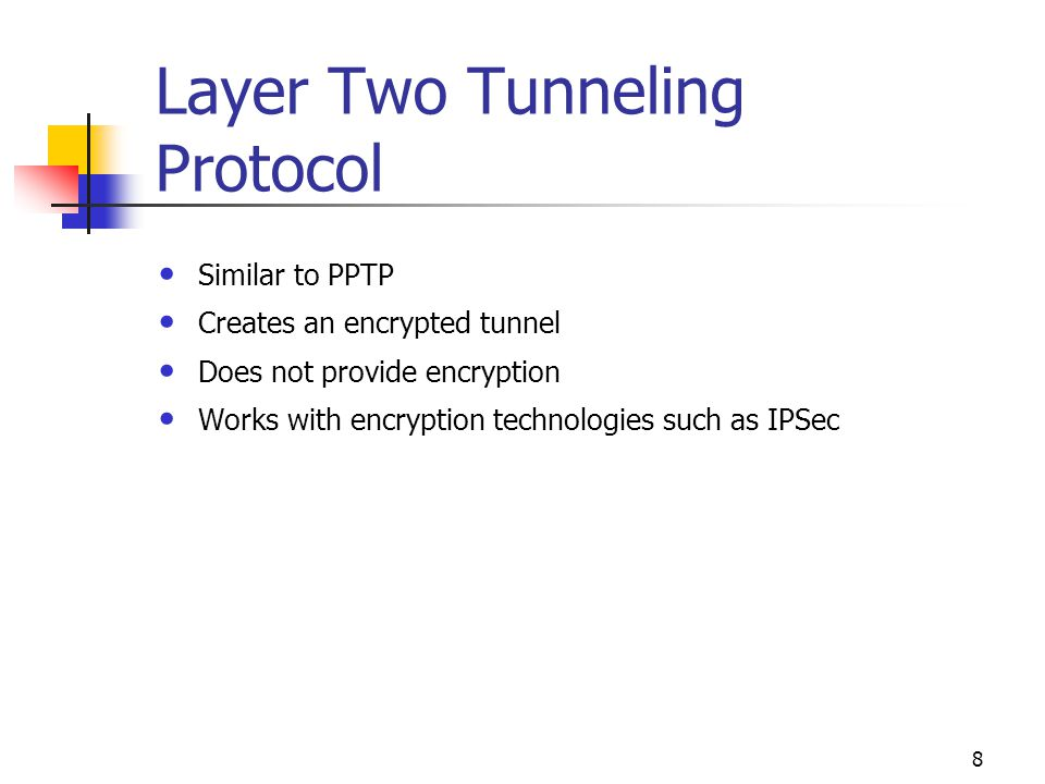 8 Layer Two Tunneling Protocol Similar to PPTP Creates an encrypted tunnel Does not provide encryption Works with encryption technologies such as IPSec
