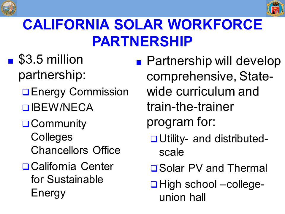 CALIFORNIA SOLAR WORKFORCE PARTNERSHIP ■ $3.5 million partnership:  Energy Commission  IBEW/NECA  Community Colleges Chancellors Office  California Center for Sustainable Energy ■ Partnership will develop comprehensive, State- wide curriculum and train-the-trainer program for:  Utility- and distributed- scale  Solar PV and Thermal  High school –college- union hall