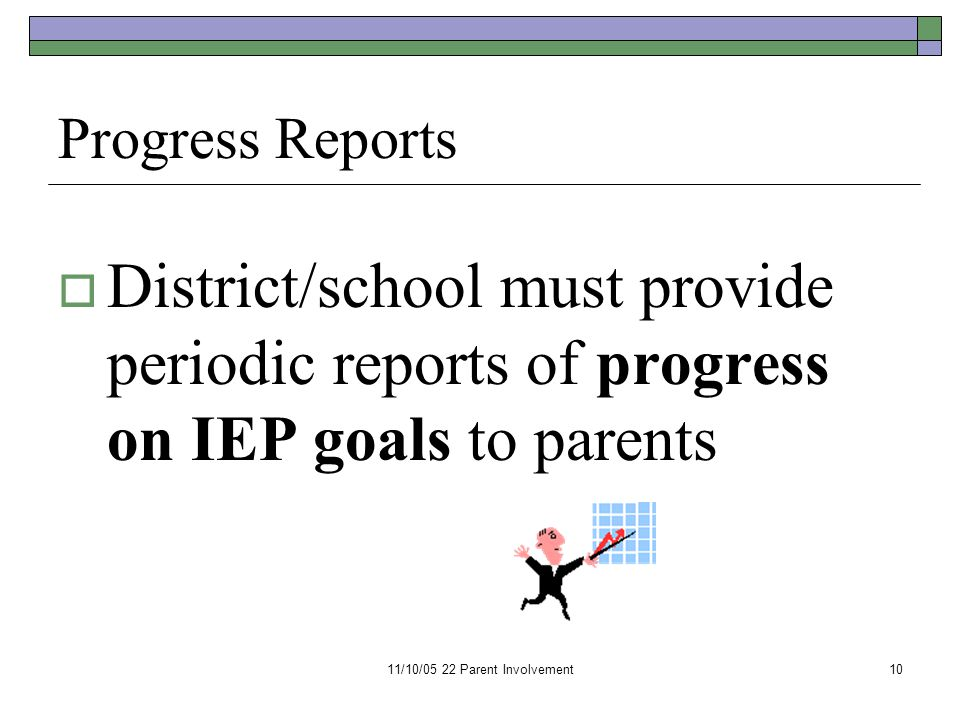 11/10/05 22 Parent Involvement10 Progress Reports  District/school must provide periodic reports of progress on IEP goals to parents