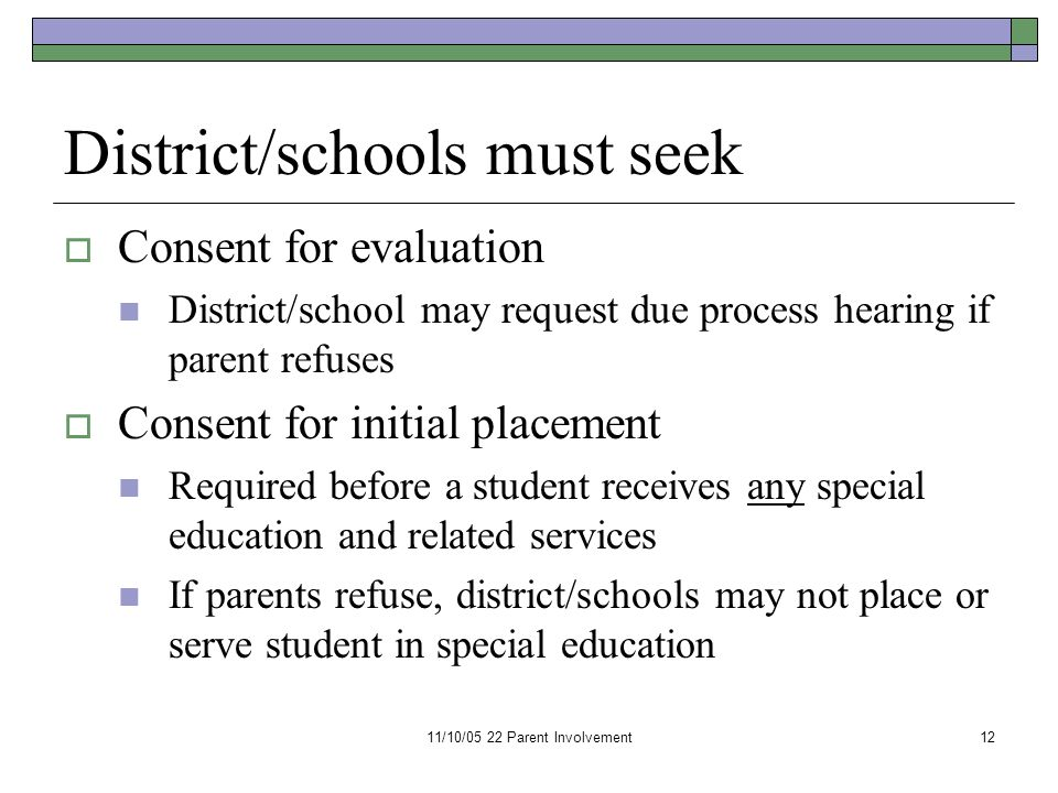 11/10/05 22 Parent Involvement12 District/schools must seek  Consent for evaluation District/school may request due process hearing if parent refuses  Consent for initial placement Required before a student receives any special education and related services If parents refuse, district/schools may not place or serve student in special education