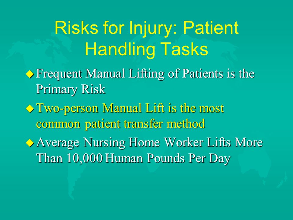 Risks for Injury: Patient Handling Tasks u Frequent Manual Lifting of Patients is the Primary Risk u Two-person Manual Lift is the most common patient transfer method u Average Nursing Home Worker Lifts More Than 10,000 Human Pounds Per Day