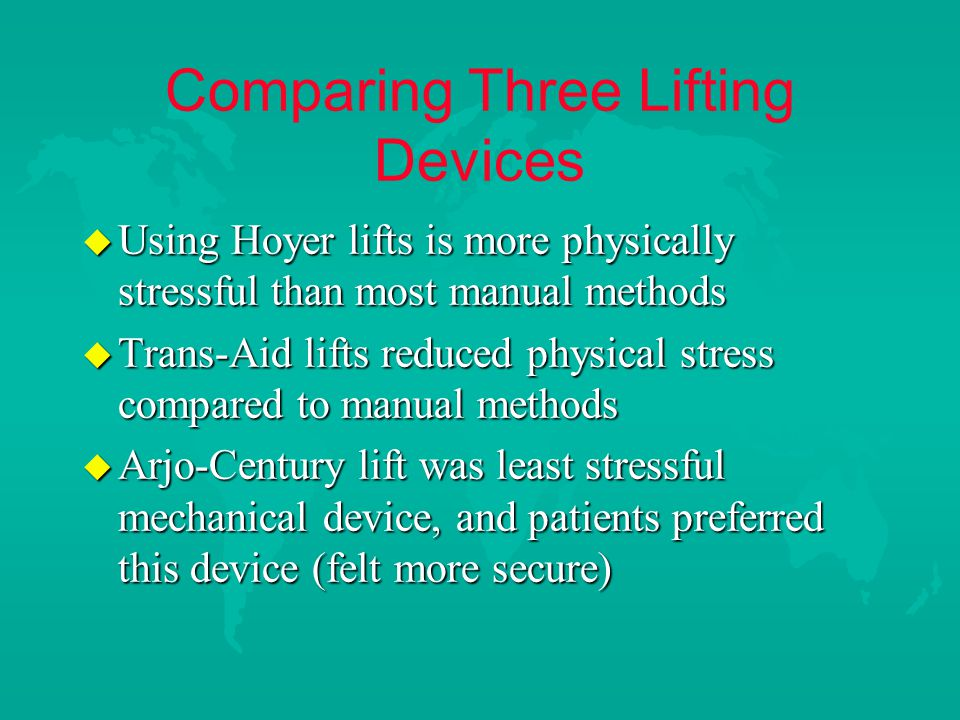Comparing Three Lifting Devices u Using Hoyer lifts is more physically stressful than most manual methods u Trans-Aid lifts reduced physical stress compared to manual methods u Arjo-Century lift was least stressful mechanical device, and patients preferred this device (felt more secure)
