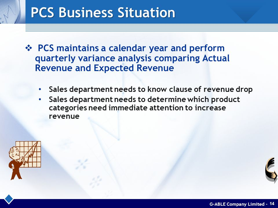 PCS Business Situation  PCS maintains a calendar year and perform quarterly variance analysis comparing Actual Revenue and Expected Revenue Sales department needs to know clause of revenue drop Sales department needs to determine which product categories need immediate attention to increase revenue G-ABLE Company Limited -14