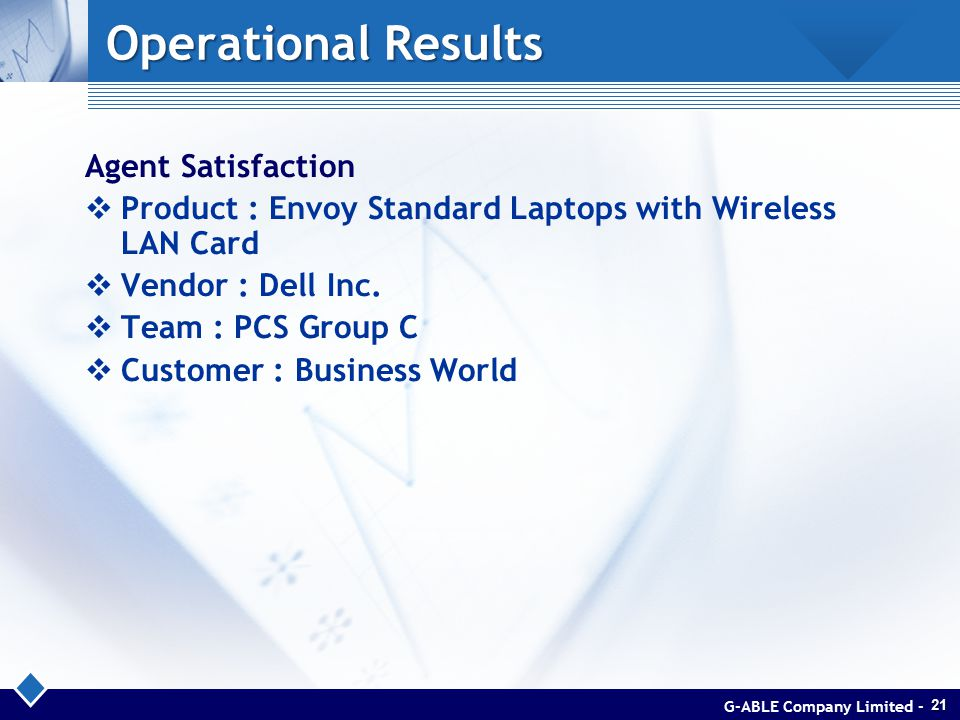 Operational Results Agent Satisfaction  Product : Envoy Standard Laptops with Wireless LAN Card  Vendor : Dell Inc.