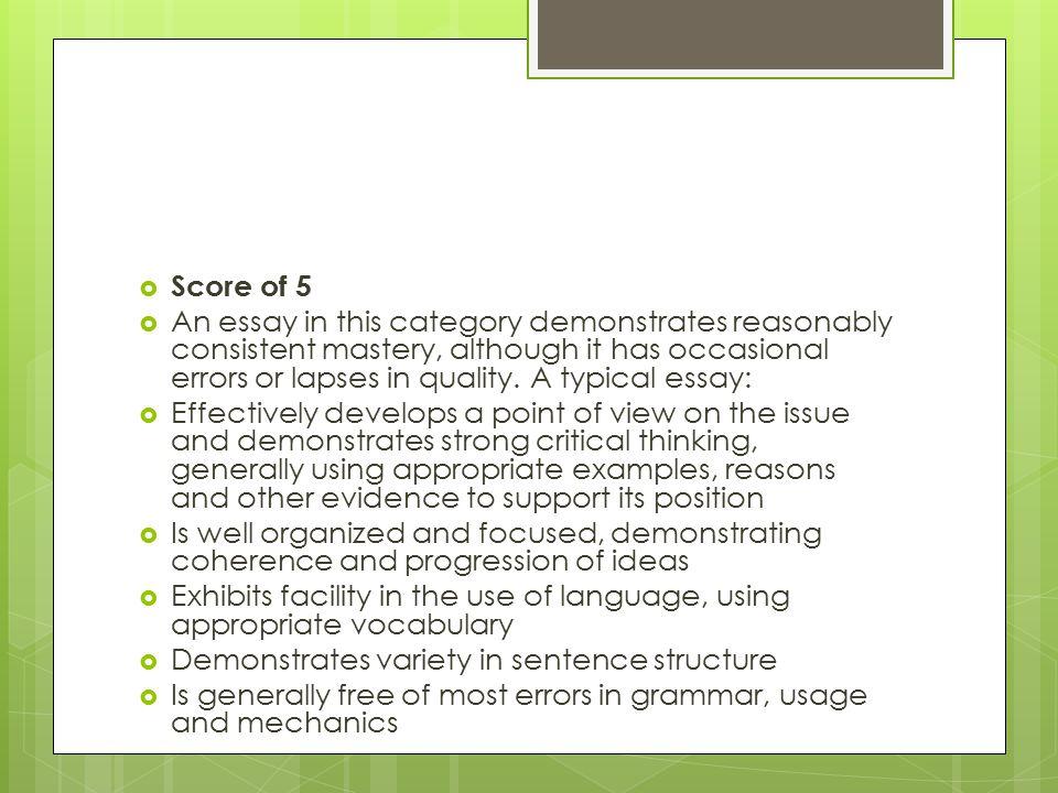 act persuasive essay rubric