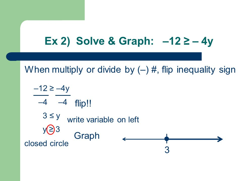 Ex 2) Solve & Graph: –12 ≥ – 4y When multiply or divide by (–) #, flip inequality sign –12 ≥ –4y –4 –4 3 ≤ y y ≥ 3 3 flip!.