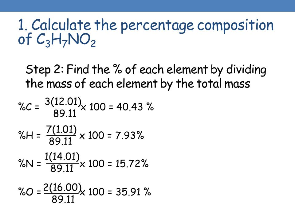 to determine the percentage by mass To aid in chemistry exercises and homework, here are links to some programs to calculate the molar mass of a compound and mass percentage of each of its.