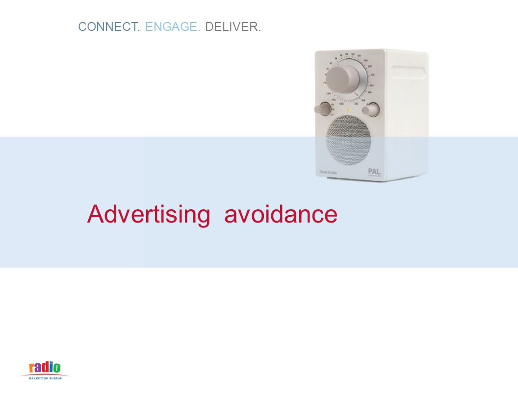 CONNECT. ENGAGE. DELIVER. Advertising avoidance
