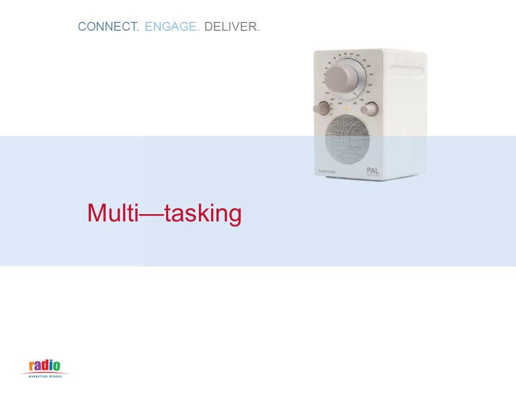 CONNECT. ENGAGE. DELIVER. Multi—tasking