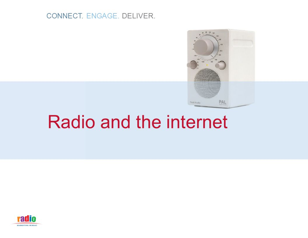CONNECT. ENGAGE. DELIVER. Radio and the internet