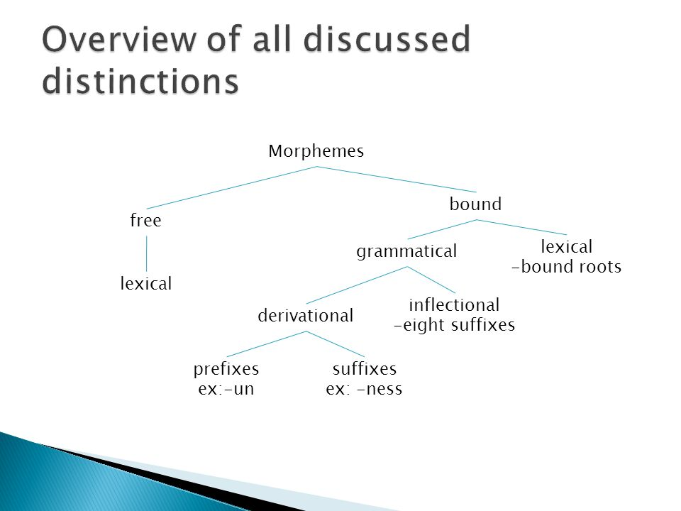 free Morphemes lexical -bound roots bound lexical grammatical derivational inflectional -eight suffixes prefixes ex:-un suffixes ex: -ness