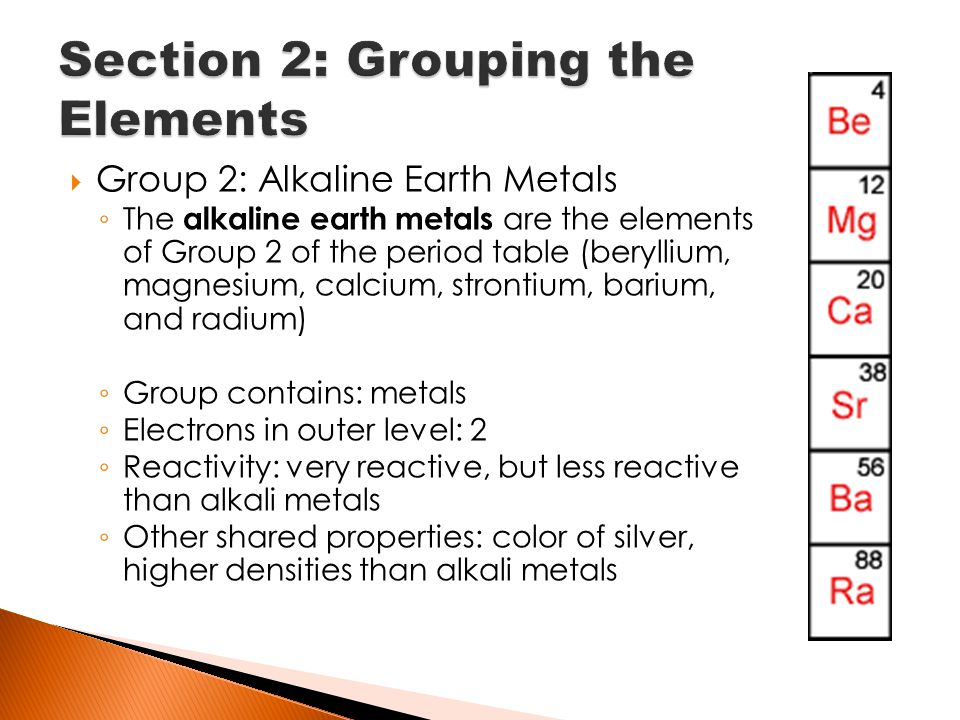 Chapter 12 material on midterm ppt download group 2 alkaline earth metals the alkaline earth metals are the elements of group 2 of the period table beryllium magnesium calcium strontium barium urtaz Image collections