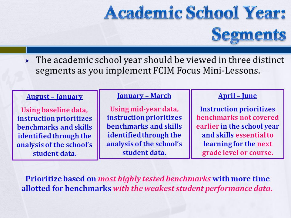  The academic school year should be viewed in three distinct segments as you implement FCIM Focus Mini-Lessons.