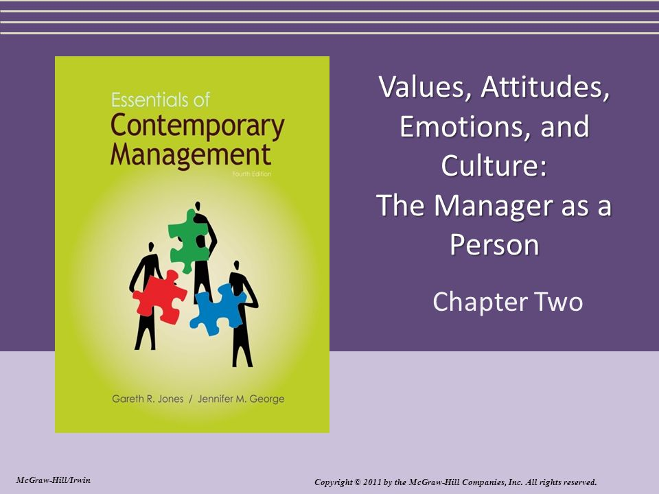 Values, Attitudes, Emotions, and Culture: The Manager as a Person Chapter Two Copyright © 2011 by the McGraw-Hill Companies, Inc. All rights reserved.