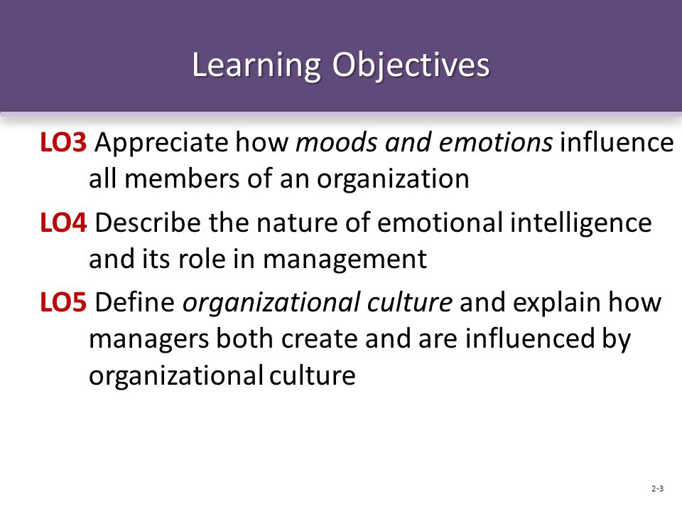 Learning Objectives LO3 Appreciate how moods and emotions influence all members of an organization LO4 Describe the nature of emotional intelligence a