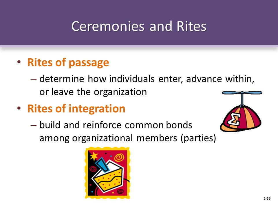 Ceremonies and Rites Rites of passage – determine how individuals enter, advance within, or leave the organization Rites of integration – build and re