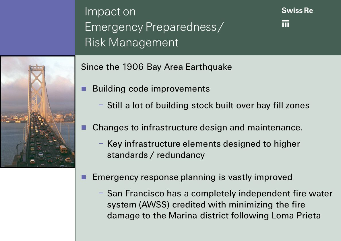 impact on emergency preparedness risk management since the 1906 bay area earthquake building code improvements