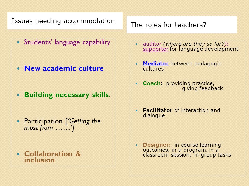 Issues needing accommodation The roles for teachers.