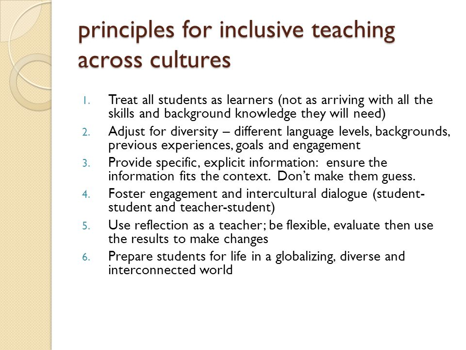 principles for inclusive teaching across cultures 1.