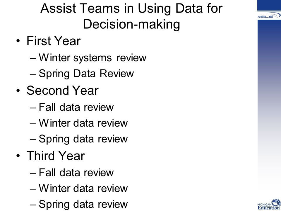 Assist Teams in Using Data for Decision-making First Year –Winter systems review –Spring Data Review Second Year –Fall data review –Winter data review –Spring data review Third Year –Fall data review –Winter data review –Spring data review