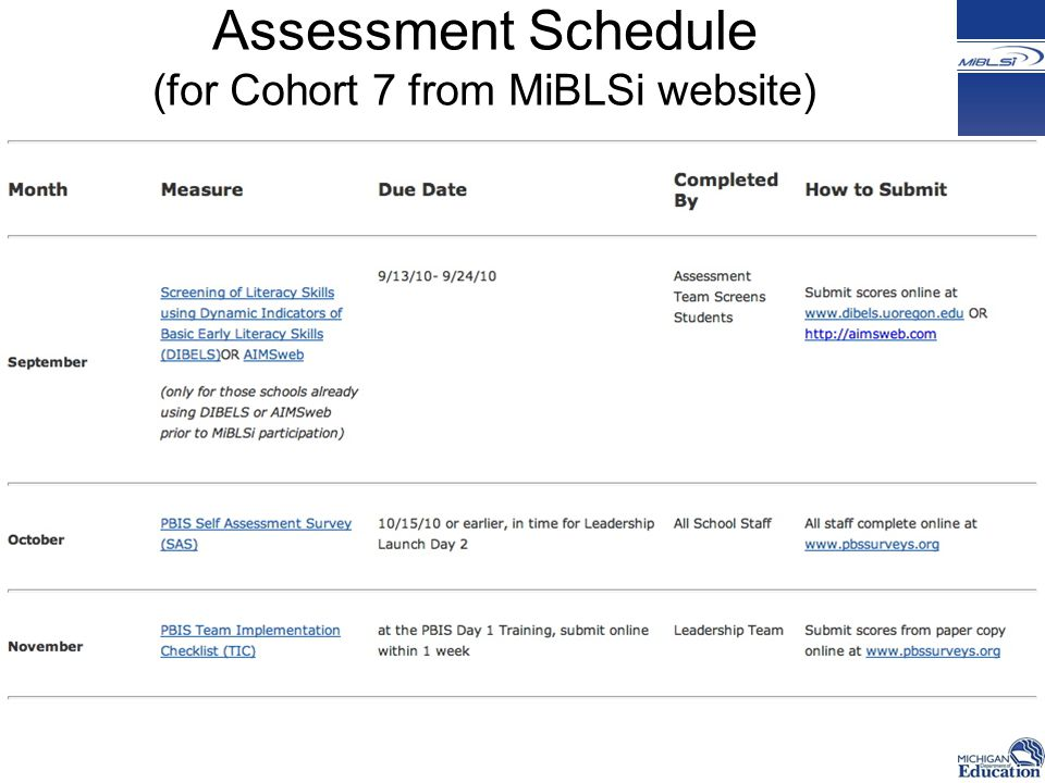 Assessment Schedule (for Cohort 7 from MiBLSi website)