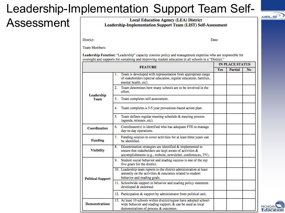 Leadership-Implementation Support Team Self- Assessment