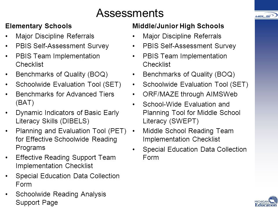 Assessments Elementary Schools Major Discipline Referrals PBIS Self-Assessment Survey PBIS Team Implementation Checklist Benchmarks of Quality (BOQ) Schoolwide Evaluation Tool (SET) Benchmarks for Advanced Tiers (BAT) Dynamic Indicators of Basic Early Literacy Skills (DIBELS) Planning and Evaluation Tool (PET) for Effective Schoolwide Reading Programs Effective Reading Support Team Implementation Checklist Special Education Data Collection Form Schoolwide Reading Analysis Support Page Middle/Junior High Schools Major Discipline Referrals PBIS Self-Assessment Survey PBIS Team Implementation Checklist Benchmarks of Quality (BOQ) Schoolwide Evaluation Tool (SET) ORF/MAZE through AIMSWeb School-Wide Evaluation and Planning Tool for Middle School Literacy (SWEPT) Middle School Reading Team Implementation Checklist Special Education Data Collection Form