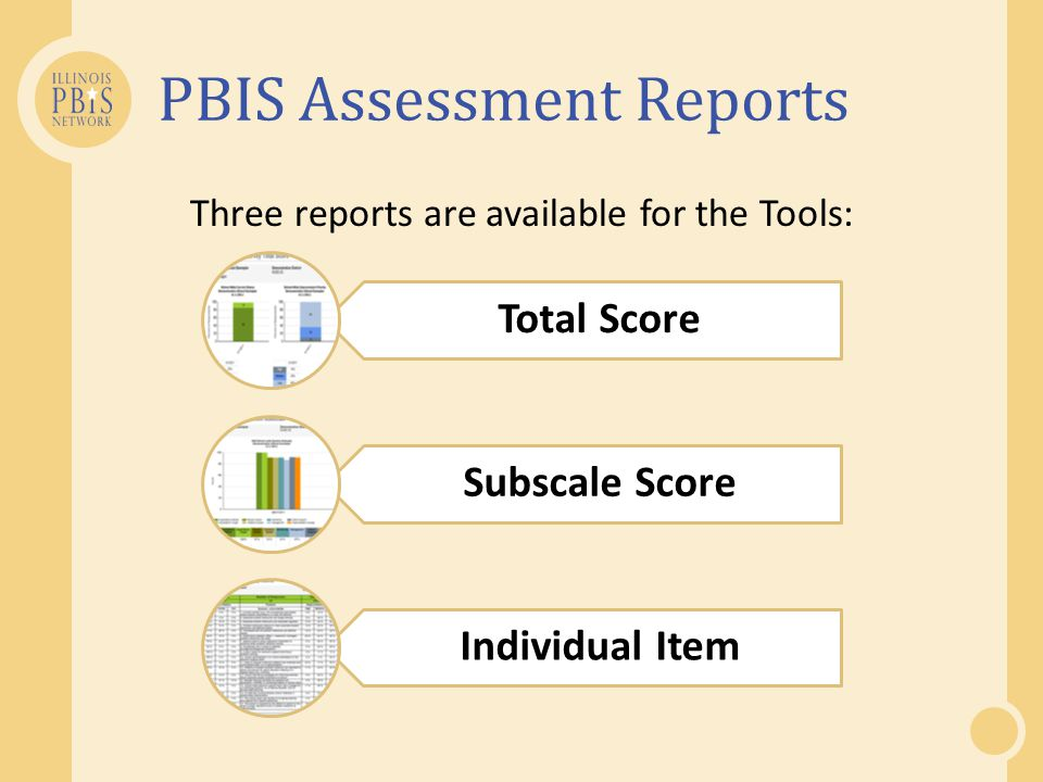 PBIS Assessment Reports Three reports are available for the Tools: Total Score Subscale Score Individual Item