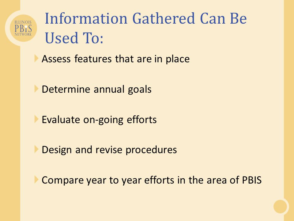  Assess features that are in place  Determine annual goals  Evaluate on-going efforts  Design and revise procedures  Compare year to year efforts in the area of PBIS Information Gathered Can Be Used To: