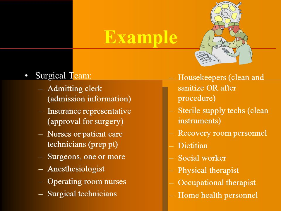 Example Surgical Team: –Admitting clerk (admission information) –Insurance representative (approval for surgery) –Nurses or patient care technicians (