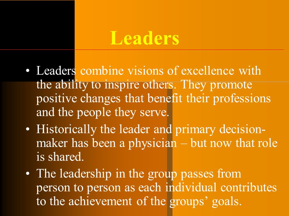 Leaders Leaders combine visions of excellence with the ability to inspire others. They promote positive changes that benefit their professions and the
