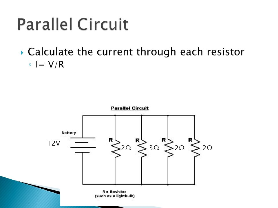  Calculate the current through each resistor ◦ I= V/R 2Ω2Ω 2Ω2Ω2Ω2Ω3Ω3Ω 12V