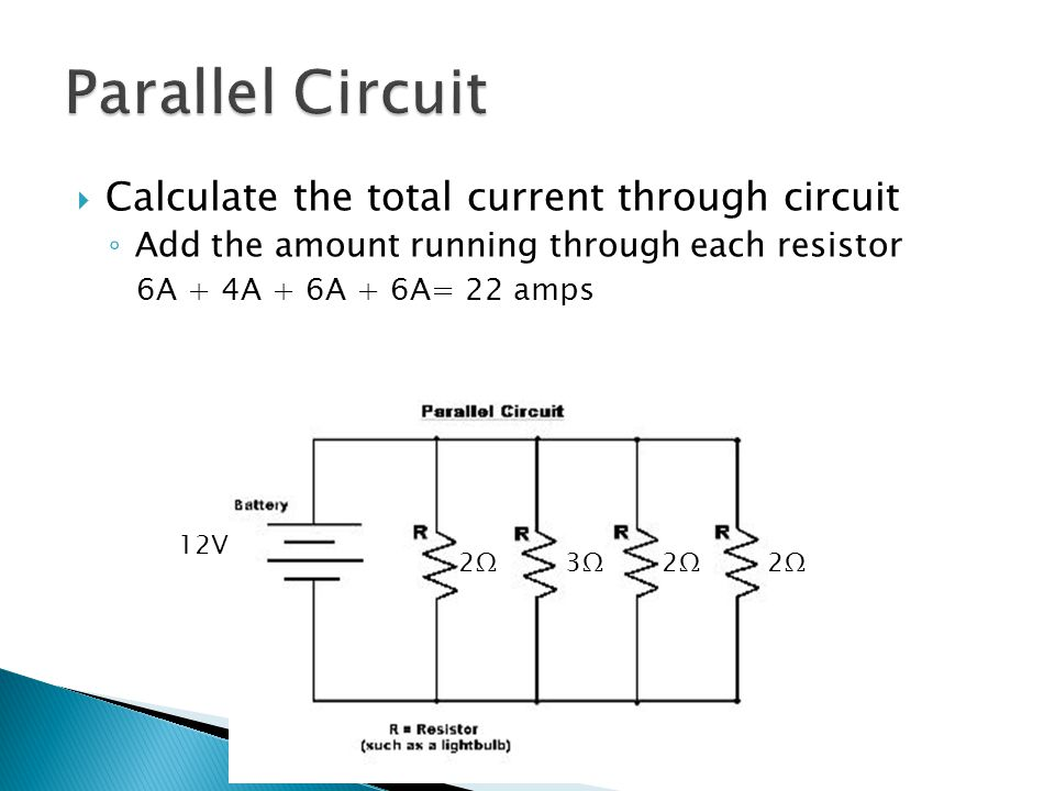 Calculate the total current through circuit ◦ Add the amount running through each resistor 6A + 4A + 6A + 6A= 22 amps 2Ω2Ω 2Ω2Ω2Ω2Ω3Ω3Ω 12V