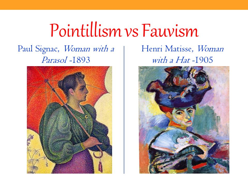 Pointillism vs Fauvism Paul Signac, Woman with a Parasol Henri Matisse, Woman with a Hat -1905
