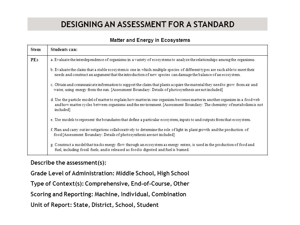 DESIGNING AN ASSESSMENT FOR A STANDARD Matter and Energy in Ecosystems StemStudents can: PEs a.