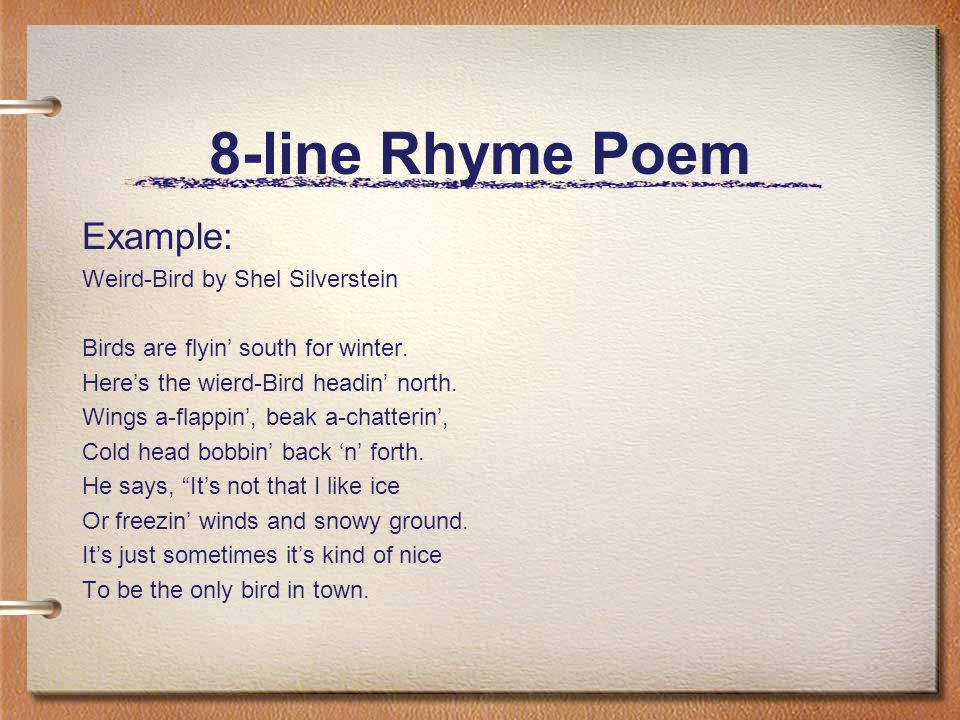 "poems for kids to write A poetic ""form"" is a set of rules for writing a certain type of poem these rules can include the number of lines or syllables the poem should have, the placement of rhymes, and so on here are lessons for writing several common poetic forms."