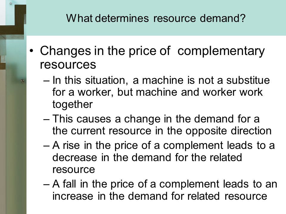 What determines resource demand.