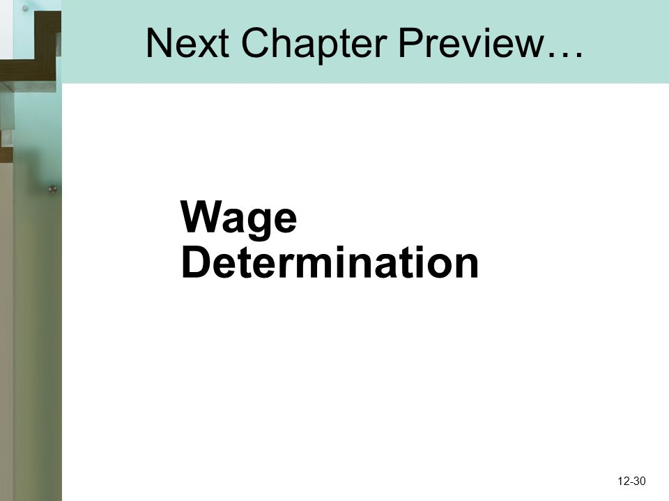 Next Chapter Preview… Wage Determination 12-30