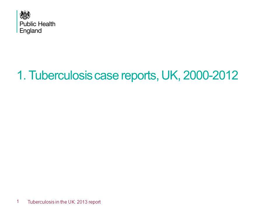 1. Tuberculosis case reports, UK, 2000-2012 1 Tuberculosis in the UK: 2013 report