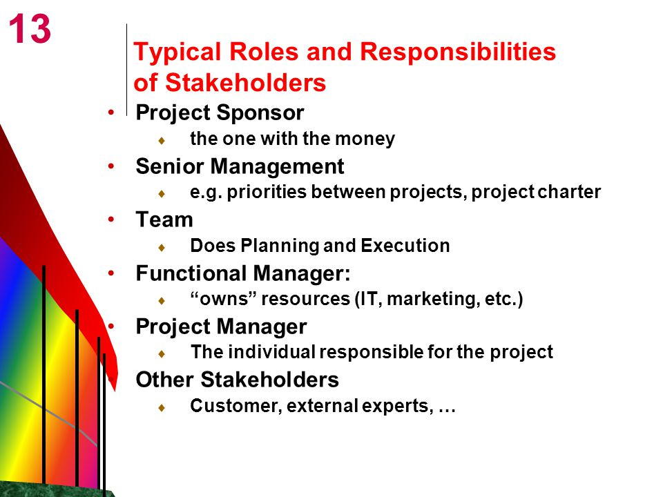 13 Typical Roles and Responsibilities of Stakeholders Project Sponsor  the one with the money Senior Management  e.g.