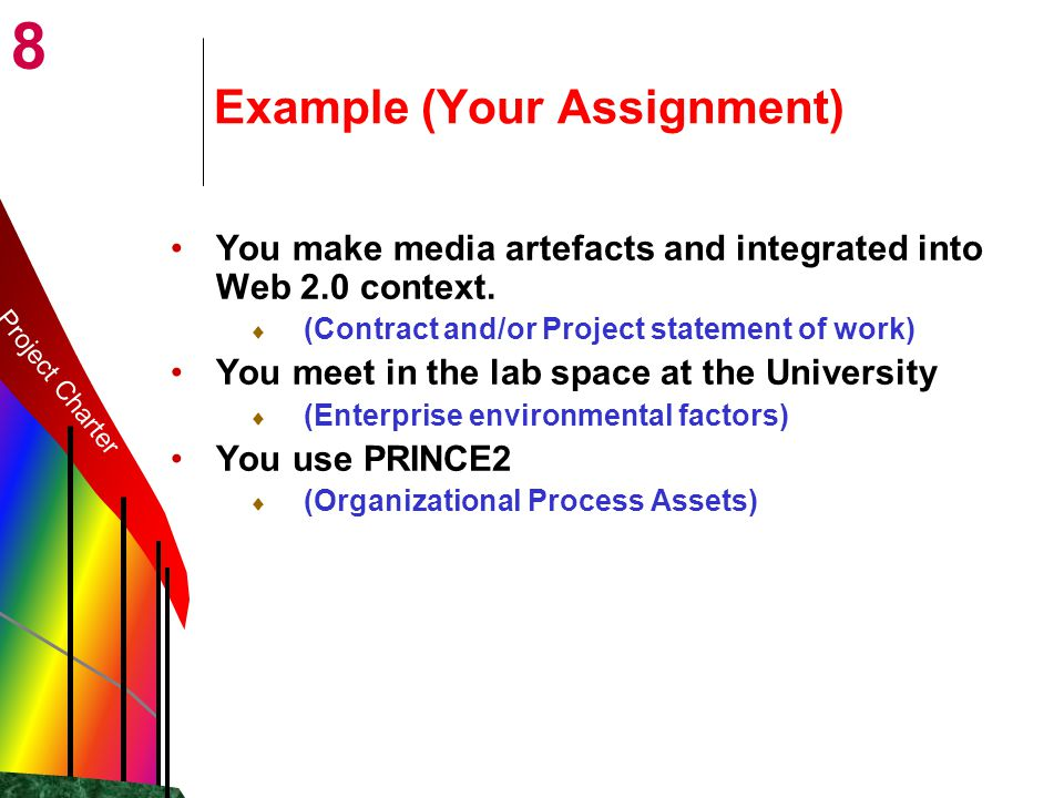 8 Example (Your Assignment) You make media artefacts and integrated into Web 2.0 context.