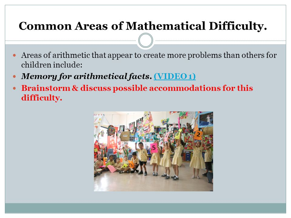 Common Areas of Mathematical Difficulty.