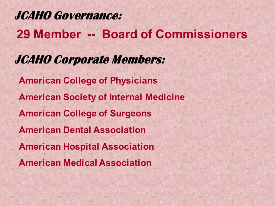 JCAHO Governance: 29 Member -- Board of Commissioners JCAHO Corporate Members: American College of Physicians American Society of Internal Medicine American College of Surgeons American Dental Association American Hospital Association American Medical Association
