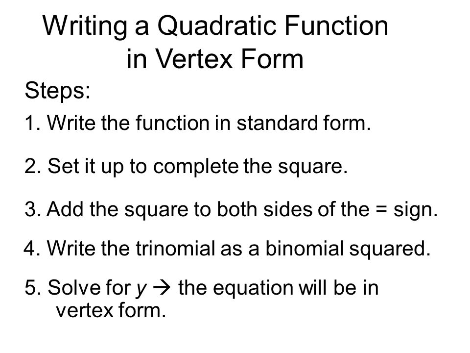 Write Quadratic Equation Vertex Form - Jennarocca