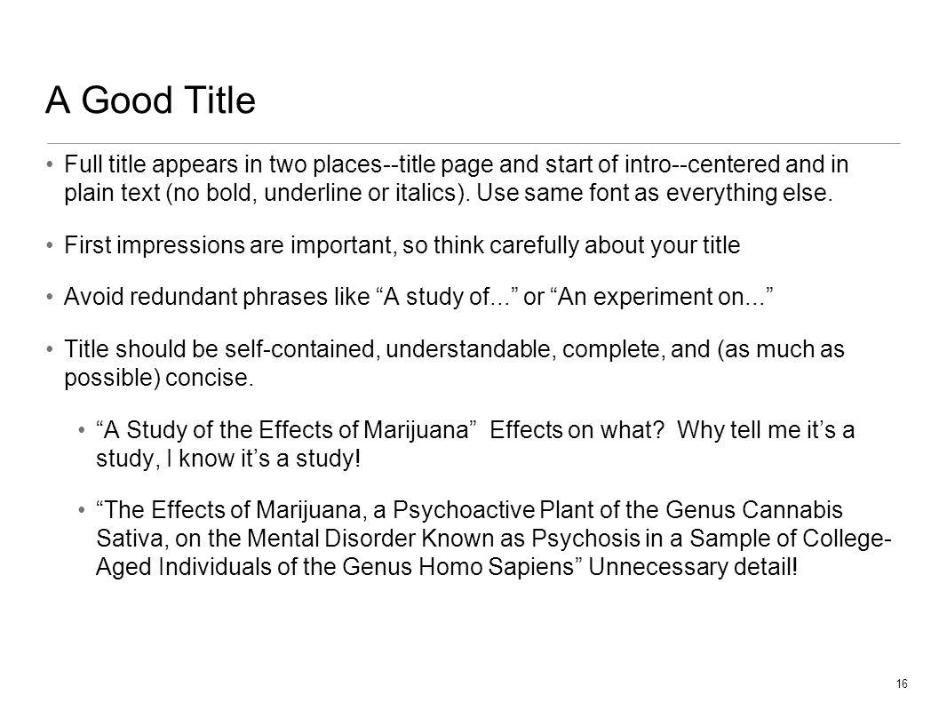 marijuana essay titles