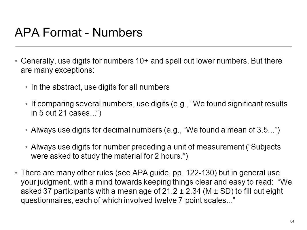 apa number format