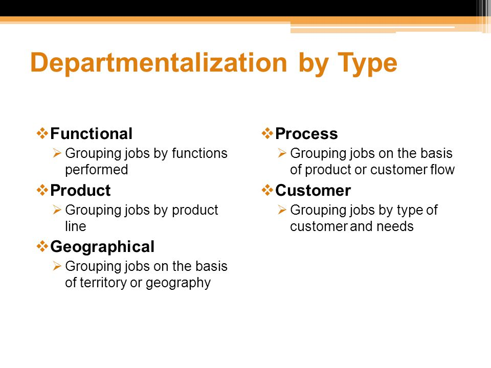 Departmentalization by Type  Functional  Grouping jobs by functions performed  Product  Grouping jobs by product line  Geographical  Grouping jo