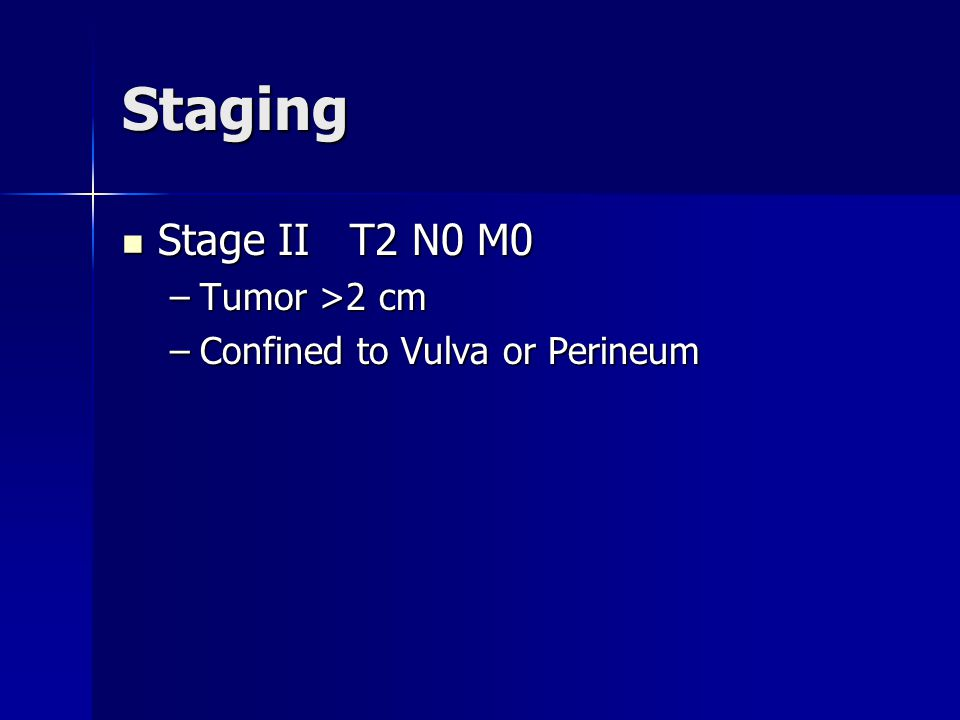 Staging Stage III Stage III –T3 N0 M0 –T3 N1 M0 –T1 N1 M0 –T2 N1 M0 Tumor any size involving lower urethra, vagina, anus OR unilateral positive nodes Tumor any size involving lower urethra, vagina, anus OR unilateral positive nodes