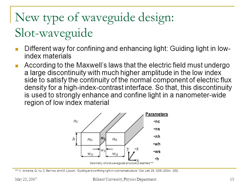 May 25, 2007 Bilkent University, Physics Department 15 New type of waveguide design: Slot-waveguide Different way for confining and enhancing light: Guiding light in low- index materials According to the Maxwell's laws that the electric field must undergo a large discontinuity with much higher amplitude in the low index side to satisfy the continuity of the normal component of electric flux density for a high-index-contrast interface.